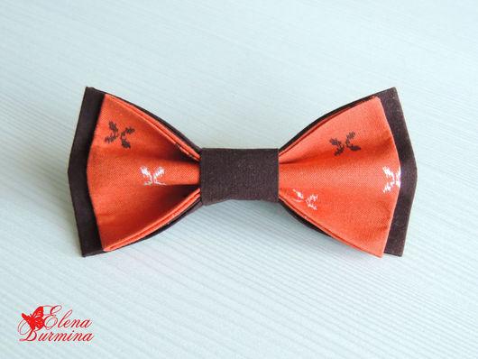 Галстуки, бабочки ручной работы. Ярмарка Мастеров - ручная работа. Купить Бабочка галстук коричнево-рыжия, хлопок. Handmade. Рыжий