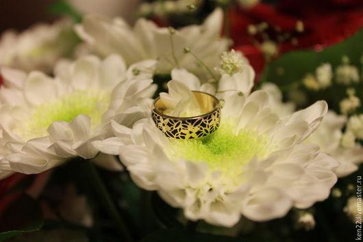 Кольца ручной работы. Ярмарка Мастеров - ручная работа. Купить Женское кольцо (желтое золото 585 пробы + горячая эмаль). Handmade.