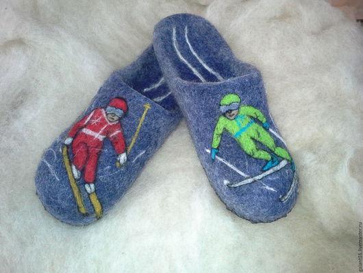 """Обувь ручной работы. Ярмарка Мастеров - ручная работа. Купить """"Фристайл"""" Валяные тапочки -шлепки. Handmade. Шерсть, спорт, кожа"""