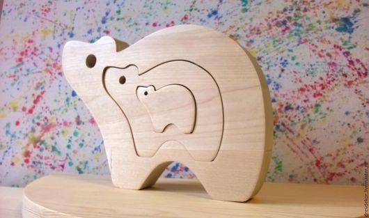 Развивающие игрушки ручной работы. Ярмарка Мастеров - ручная работа. Купить Сувенир пазл вставка медведи. Handmade. Комбинированный