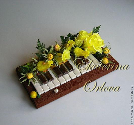 Букеты ручной работы. Ярмарка Мастеров - ручная работа. Купить Музыканту... (букет из конфет (желт.)). Handmade. Пианино, учителю