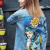 Одежда ручной работы. Ярмарка Мастеров - ручная работа Джинсовая куртка с росписью Поп арт. Handmade.