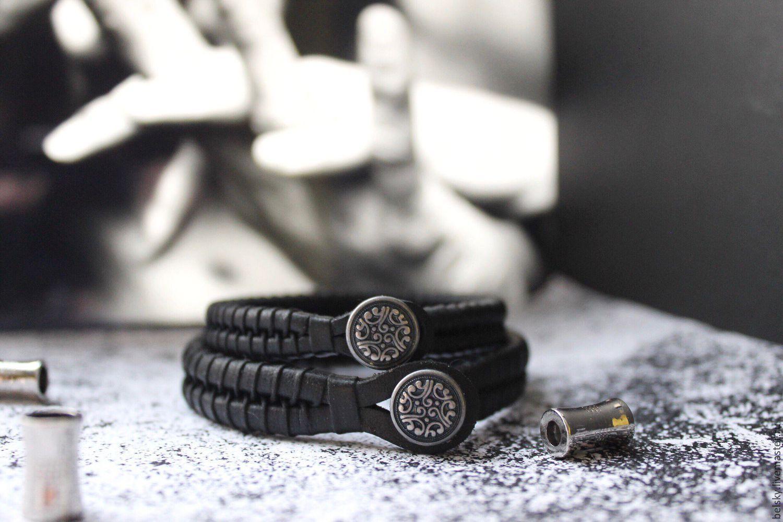 комплект браслеты кожаные черные плетеные на руку лаконичные