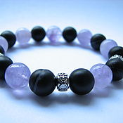 Украшения handmade. Livemaster - original item Bracelet black agate and amethyst