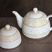 """Посуда ручной работы. Ярмарка Мастеров - ручная работа Чайный сервиз фарфор """"Белое золото"""" Подарок для женщины. Handmade."""