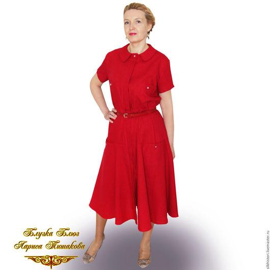 Платья ручной работы. Ярмарка Мастеров - ручная работа. Купить Платье - рубашка льняное , платье Малинка. Handmade. Ярко-красный