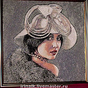 """Картины и панно ручной работы. Ярмарка Мастеров - ручная работа Портрет """"Дама в шляпке"""". Handmade."""