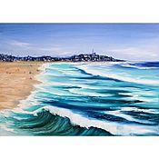 Картины и панно handmade. Livemaster - original item Oil painting sea Seaside town Seascape. Handmade.