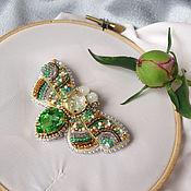 Украшения handmade. Livemaster - original item Butterfly brooch embroidered with beads. Handmade.