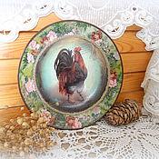 Подарки к праздникам ручной работы. Ярмарка Мастеров - ручная работа декоративная тарелка Петушок в стиле кантри. Handmade.