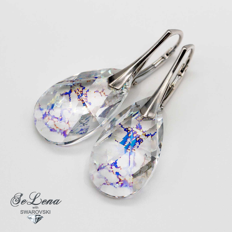 Swarovski earrings silver 925_silver earrings with Swarovski crystals, Earrings, St. Petersburg,  Фото №1