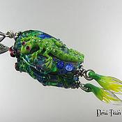 Украшения ручной работы. Ярмарка Мастеров - ручная работа Зеленая ящерка - подвеска Лэмпворк. Handmade.