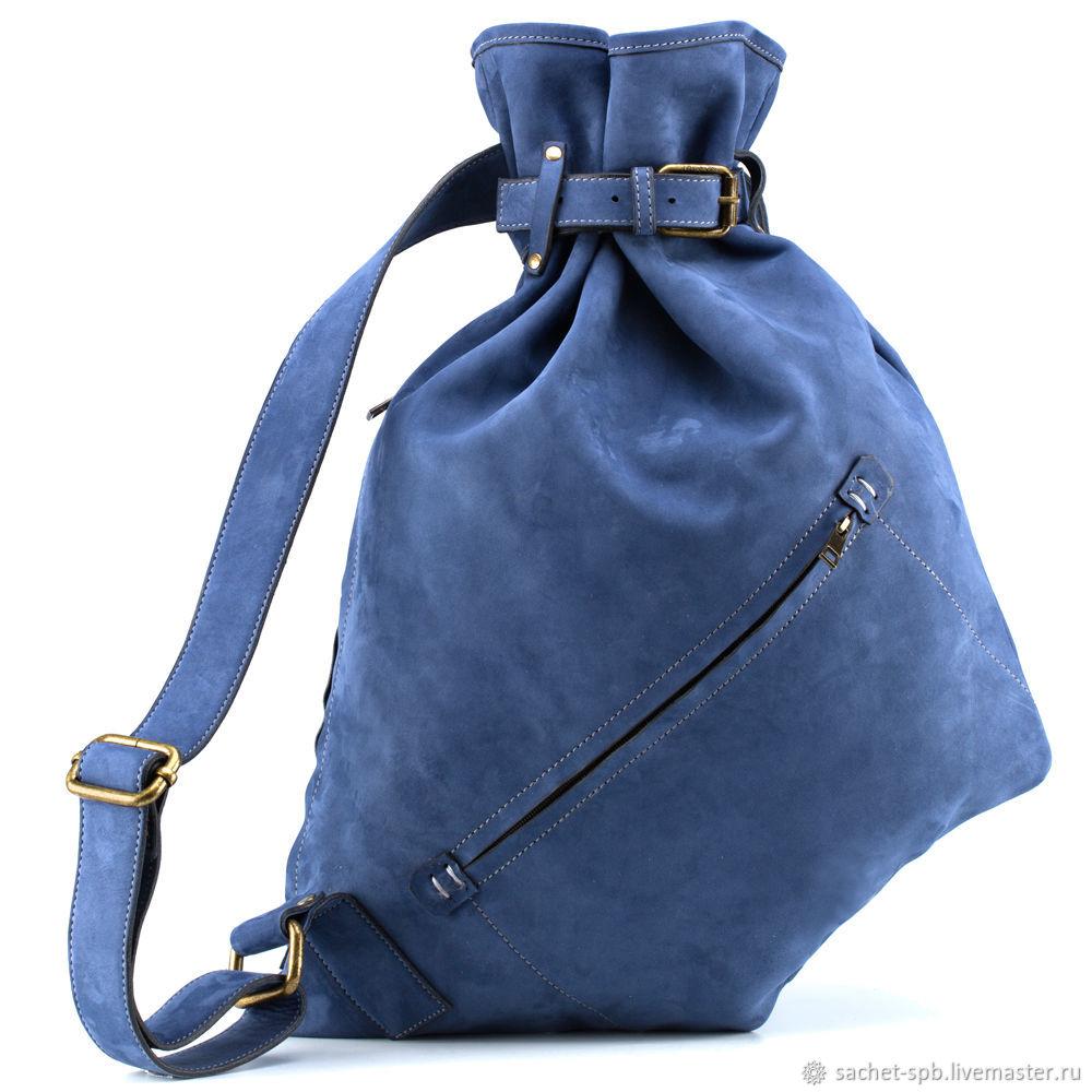 Leather backpack Selena (blue nubuck), Backpacks, St. Petersburg,  Фото №1