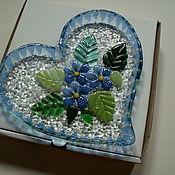 """Посуда ручной работы. Ярмарка Мастеров - ручная работа Тарелочка """"Нежное сердце""""фьюзинг. Handmade."""
