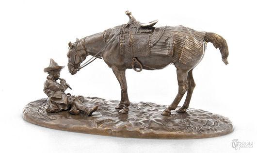Элементы интерьера ручной работы. Ярмарка Мастеров - ручная работа. Купить Мальчик-киргиз с осёдланной лошадью. Handmade. Лошадь