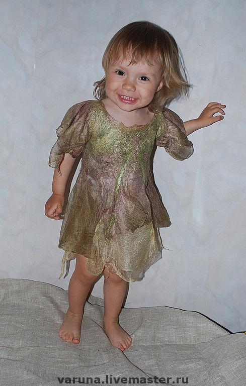 """Одежда для девочек, ручной работы. Ярмарка Мастеров - ручная работа. Купить Шелково-шерстяное платье """"Лесная фея"""". Handmade. Платье"""