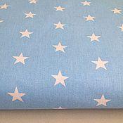 Материалы для творчества ручной работы. Ярмарка Мастеров - ручная работа 100% хлопок, Польша, белые звезды на голубом фоне 22 мм. Handmade.