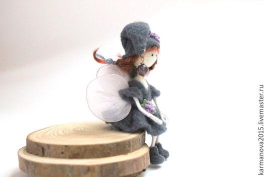 Кукольная миниатюра Феечка (серый, коричневый, белый, сиреневый)  Игрушки ручной работы. Войлочные игрушки ручной работы. Ярмарка Мастеров - ручная работа. Handmade