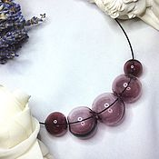 Украшения handmade. Livemaster - original item Necklace amethyst color of hand-blown beads .Lampwork. Handmade.