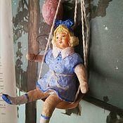 Мини фигурки и статуэтки ручной работы. Ярмарка Мастеров - ручная работа Ватная игрушка Девочка с шариком. Handmade.
