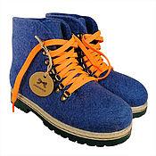 Обувь ручной работы handmade. Livemaster - original item Shoes: Blue felt boots with laces. Handmade.