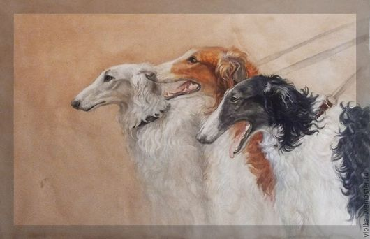 """Животные ручной работы. Ярмарка Мастеров - ручная работа. Купить """"Борзые"""",изображение охотничьих собак. Handmade. Охотничьи собаки, борзые"""