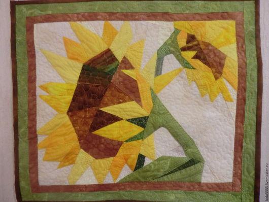 Текстиль, ковры ручной работы. Ярмарка Мастеров - ручная работа. Купить панно подсолнух. Handmade. Лоскутное шитье, панно, печворк