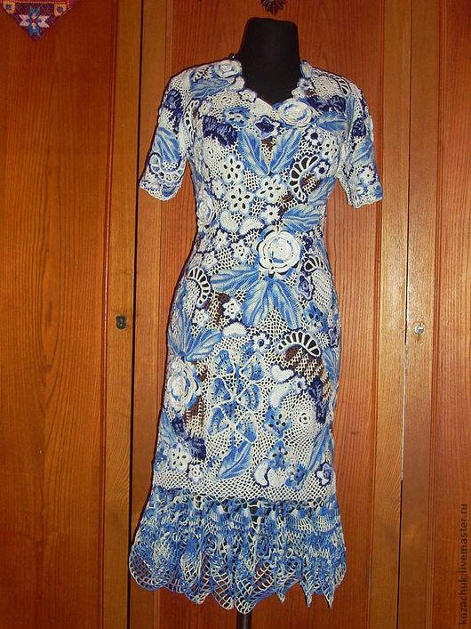 Платья ручной работы. Ярмарка Мастеров - ручная работа. Купить бирюза. Handmade. Платье вязаное, богемное платье