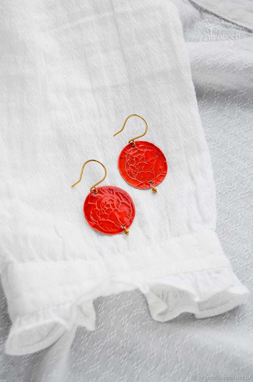 Brass earrings with hematite Bright red round earrings Minimalism, Earrings, Ulan-Ude,  Фото №1
