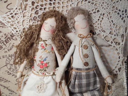 Коллекционные куклы ручной работы. Ярмарка Мастеров - ручная работа. Купить Влюбленные ангелы в стиле кантри (оберег). Handmade. примитивы