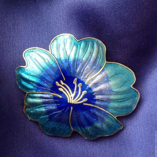 Винтажные украшения. Ярмарка Мастеров - ручная работа. Купить Брошь синий цветок, эмали клуазоне, винтаж. Handmade. Брошь винтаж