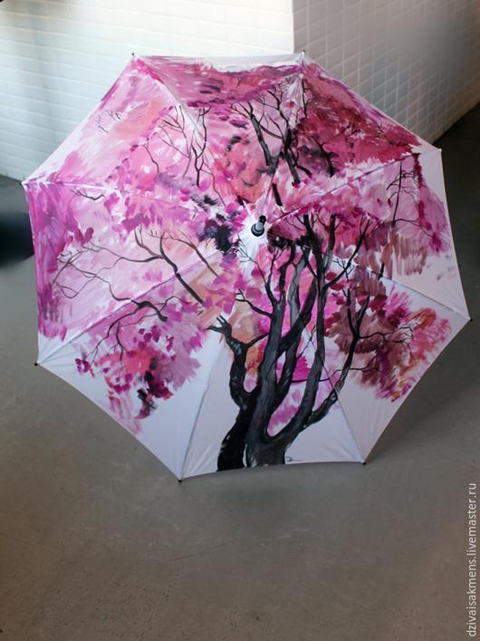 """Зонты ручной работы. Ярмарка Мастеров - ручная работа. Купить Зонт с ручной росписью """"Красное дерево"""". Handmade. Розовый, аксессуар"""