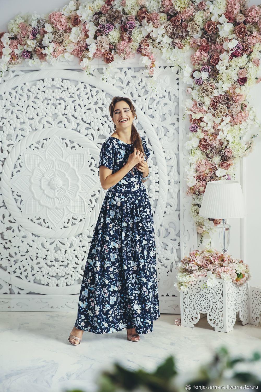 Платье Темно Синие Цветочки На Стене