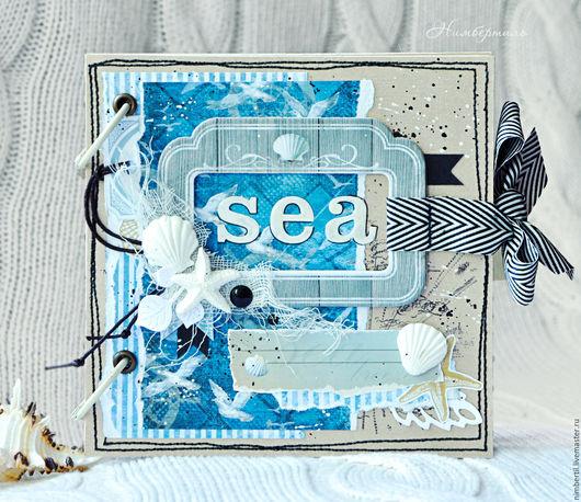 Фотоальбомы ручной работы. Ярмарка Мастеров - ручная работа. Купить Морской альбом для фотографий из путешествия. Handmade. Синий, скрап-альбом