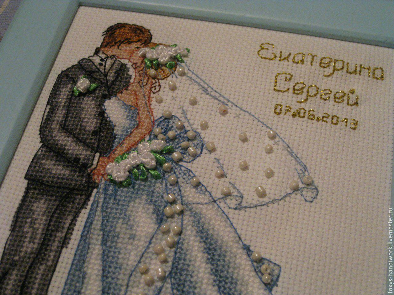 """Свадебная метрика """"Свадебный поцелуй"""" (вышивка: крест, ленты, бисер), Подарки, Тула,  Фото №1"""