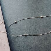 Украшения handmade. Livemaster - original item Chain on a neck from silver 925 and natural pearls. Handmade.