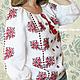 Льняная блуза с ручной вышивкой Ясна. Модная одежда с ручной вышивкой. Творческое ателье Modne-Narodne. Блузка Вышитая, Красное и Черное, Белый, Бохо Шик, Женская Вышиванка