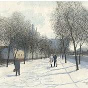 Картины и панно handmade. Livemaster - original item Picture poster, Moscow, Yauzsky Boulevard. Handmade.