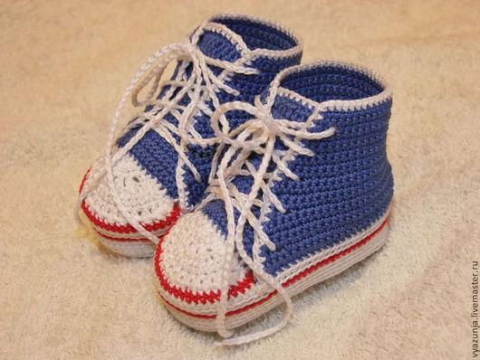 Для новорожденных, ручной работы. Ярмарка Мастеров - ручная работа. Купить Вязаные кеды. Handmade. Пинетки, Вязание крючком