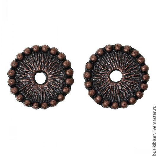 Бусины-разделители круглые `Античная медь` 12мм
