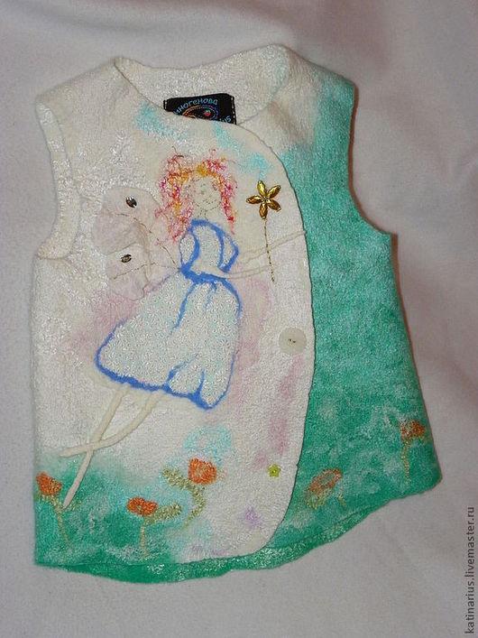 Одежда для девочек, ручной работы. Ярмарка Мастеров - ручная работа. Купить Жилет войлочный. Handmade. Мятный, фея, натуральный шифон