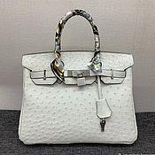 Сумки и аксессуары handmade. Livemaster - original item Classic bag, made of genuine ostrich leather, in white color!. Handmade.