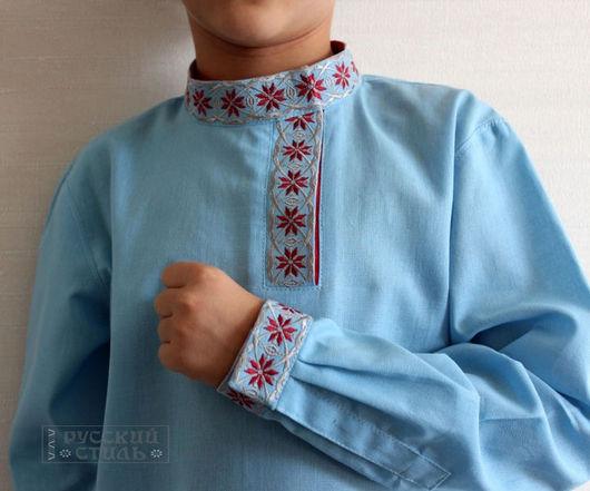 """Для подростков, ручной работы. Ярмарка Мастеров - ручная работа. Купить Косоворотка детская """"Алатырь"""". Handmade. Голубой, детская рубашка"""
