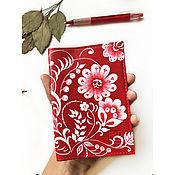 Канцелярские товары handmade. Livemaster - original item Leather passport cover with hand-painted flower web. Handmade.