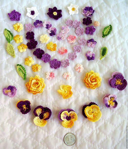 Аппликации, вставки, отделка ручной работы. Ярмарка Мастеров - ручная работа. Купить Маленькие вязаные цветы для декора и скрапа. Handmade.