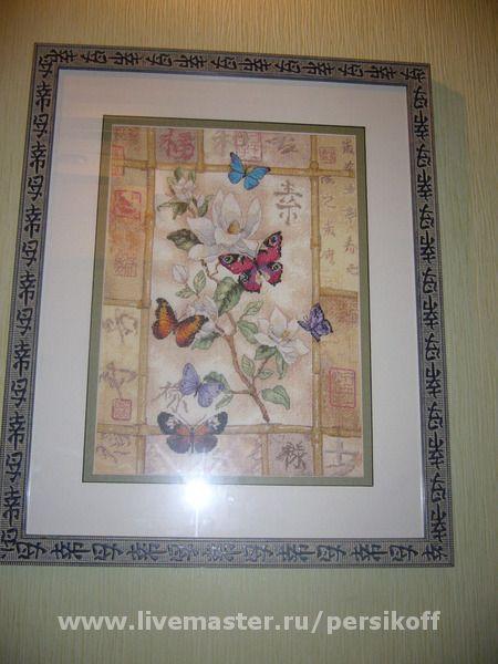 Картины цветов ручной работы. Ярмарка Мастеров - ручная работа. Купить Вышитая картина с бабочками. Handmade. Мулине мдс (dmc)