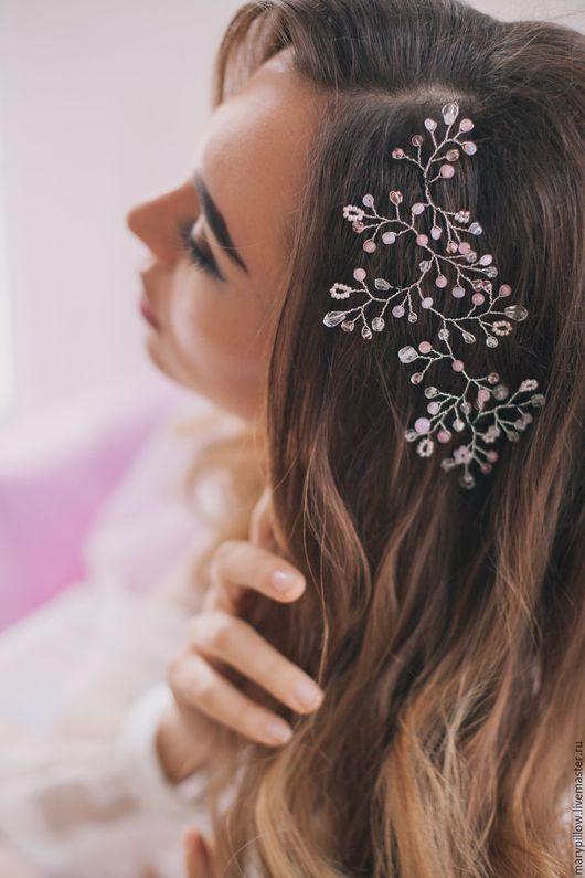 Свадебные украшения ручной работы. Ярмарка Мастеров - ручная работа. Купить Свадебная веточка в розовом цвете, розовый кварц Pantone. Handmade.