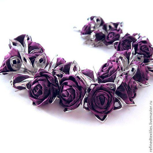 Браслеты ручной работы. Ярмарка Мастеров - ручная работа. Купить Фиолетовые розы. Браслет с цветами из ткани.. Handmade. Тёмно-фиолетовый