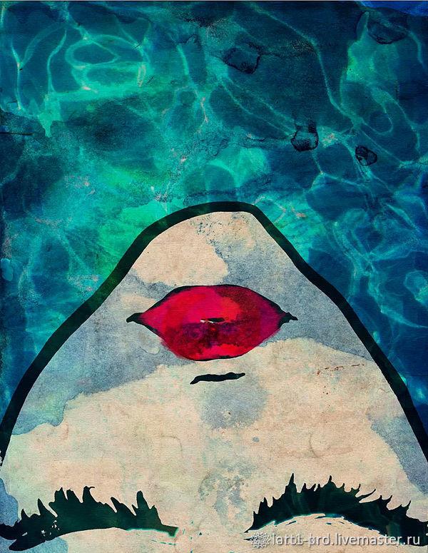 Картина маслом 100см. Голубой Девушка в Голубой воде. Масло
