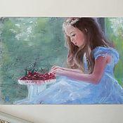Картины и панно ручной работы. Ярмарка Мастеров - ручная работа Девочка с вишнями - картина пастелью. Handmade.